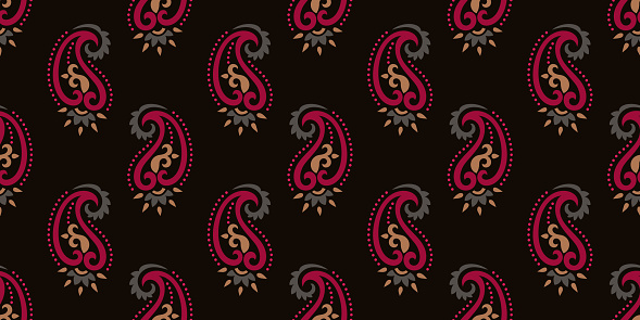 Seamless pattern based on traditional Asian elements Paisley. Boho vintage style vector background. Silk neck scarf or kerchief pattern design style, best motive for print on fabric or papper.