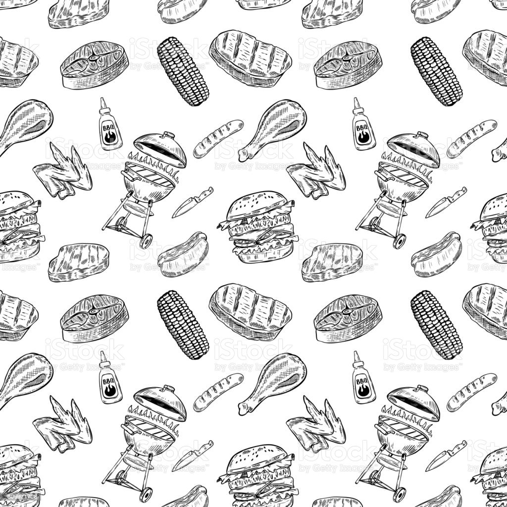 Seamless pattern bbq and grill. Design element for poster, wrapping paper. Vector illustration vector art illustration