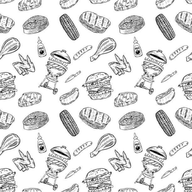 ilustrações de stock, clip art, desenhos animados e ícones de seamless pattern bbq and grill. design element for poster, wrapping paper. vector illustration - meat texture