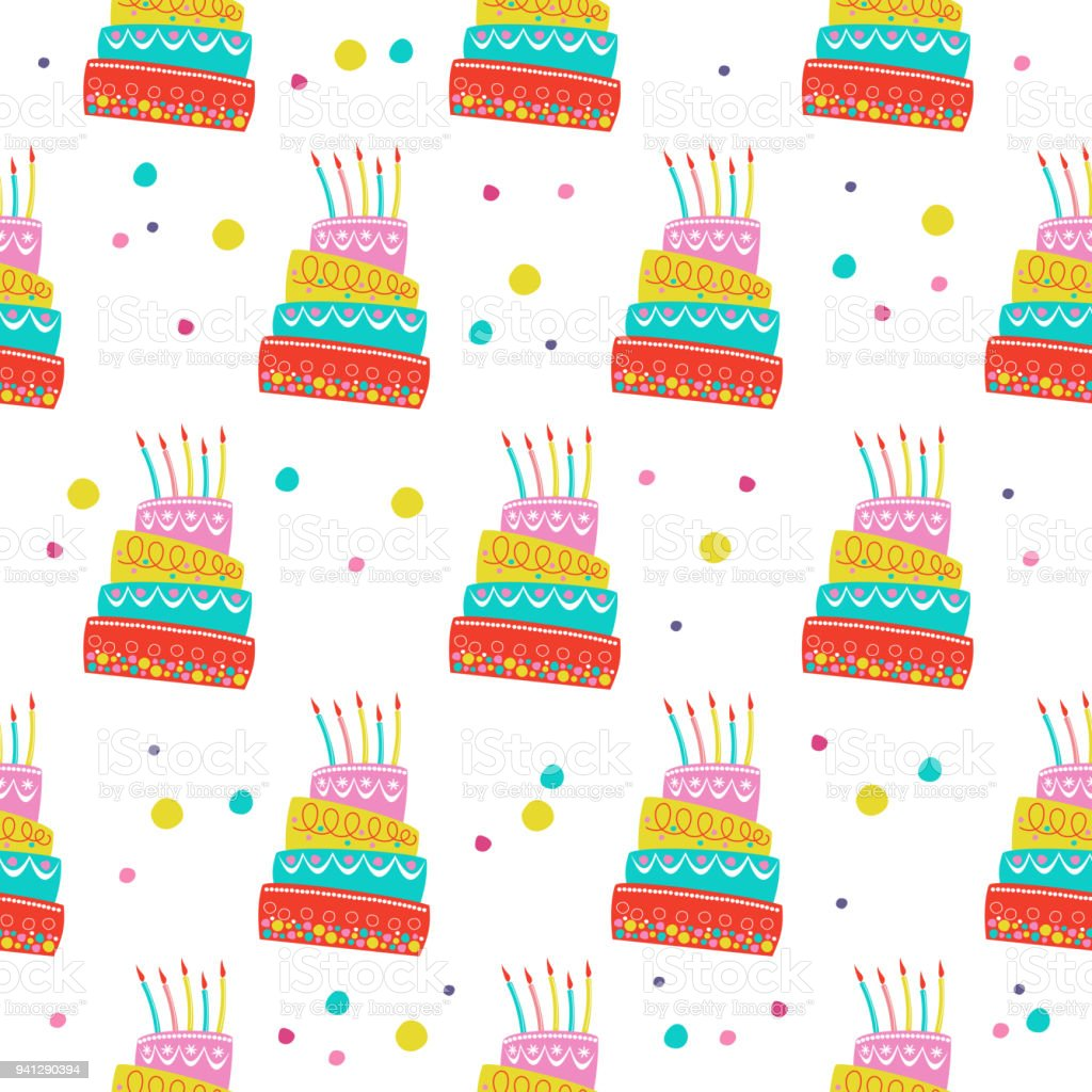 picture relating to Printable Cake Paper titled Seamless Habit Eye-catching Birthday Cake With Candles For