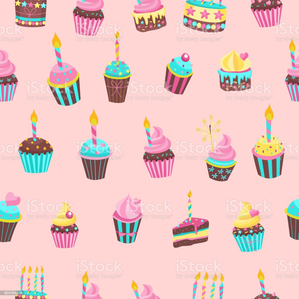 Seamless Pattern Beautiful Cute Birthday Cakes With Candles For