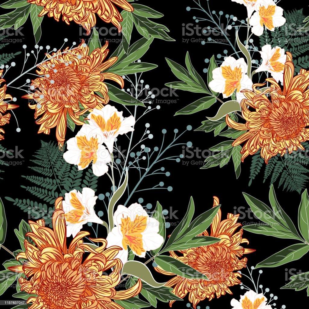 Seamless Pattern Beautiful Orange Blooming Flowers Vintage Black