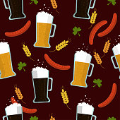 istock Seamless pattern: beer set on a brown background. Background to St. Patrick's Day in Ireland. 1196016426