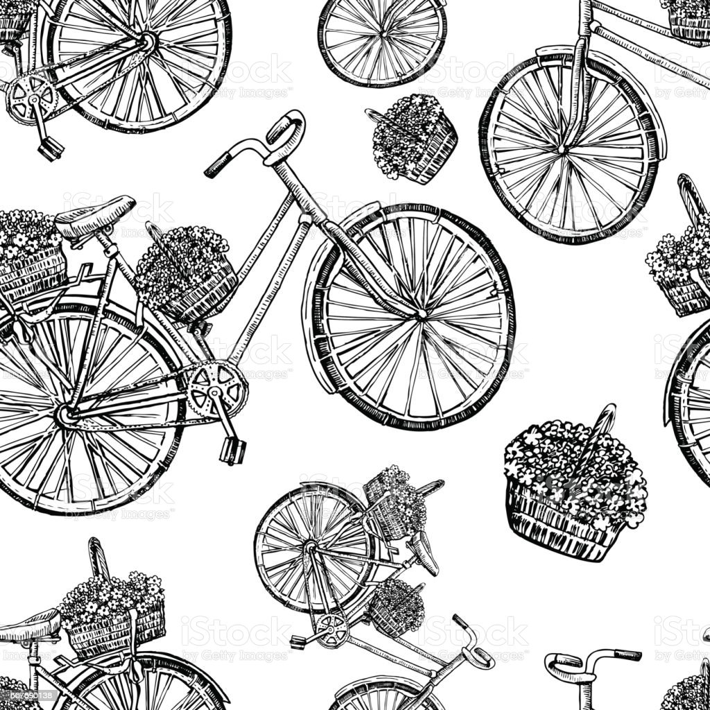 0238b7d3b80 Seamless pattern, Bicycle hand drawn vector sketch, ink illustration old  bike with floral basket