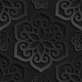 Seamless pattern black 3d paper mandala, lace element, 3D wallpapers