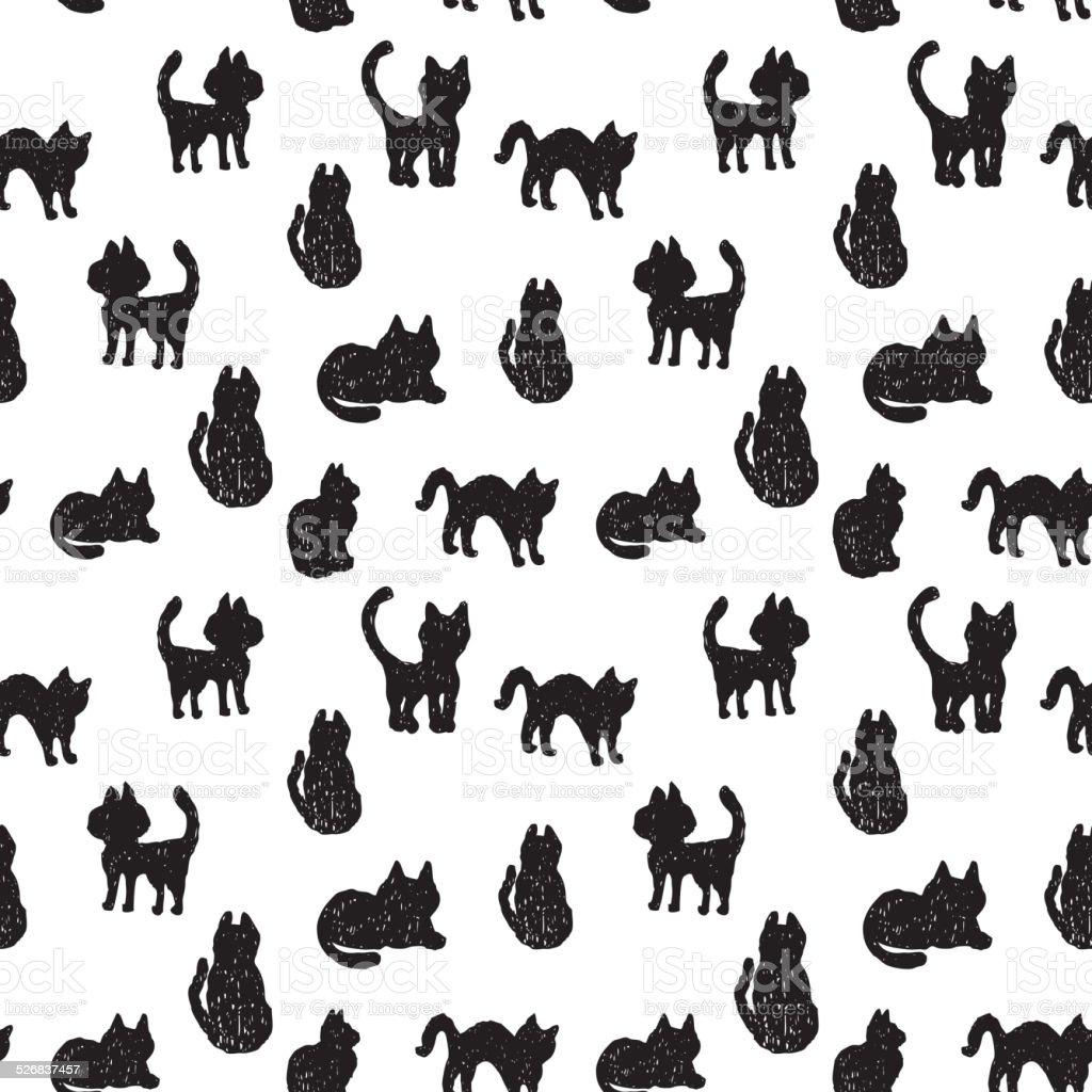 Ilustración de Patrón Sin Costuras De Gatos En Blanco Y Negro ...