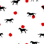 Seamless wild animals pattern black Horses silhouette and small red roses on white background. Modern pretty feminine floral print illustration horse and garden flowers, valentine day vector eps 10