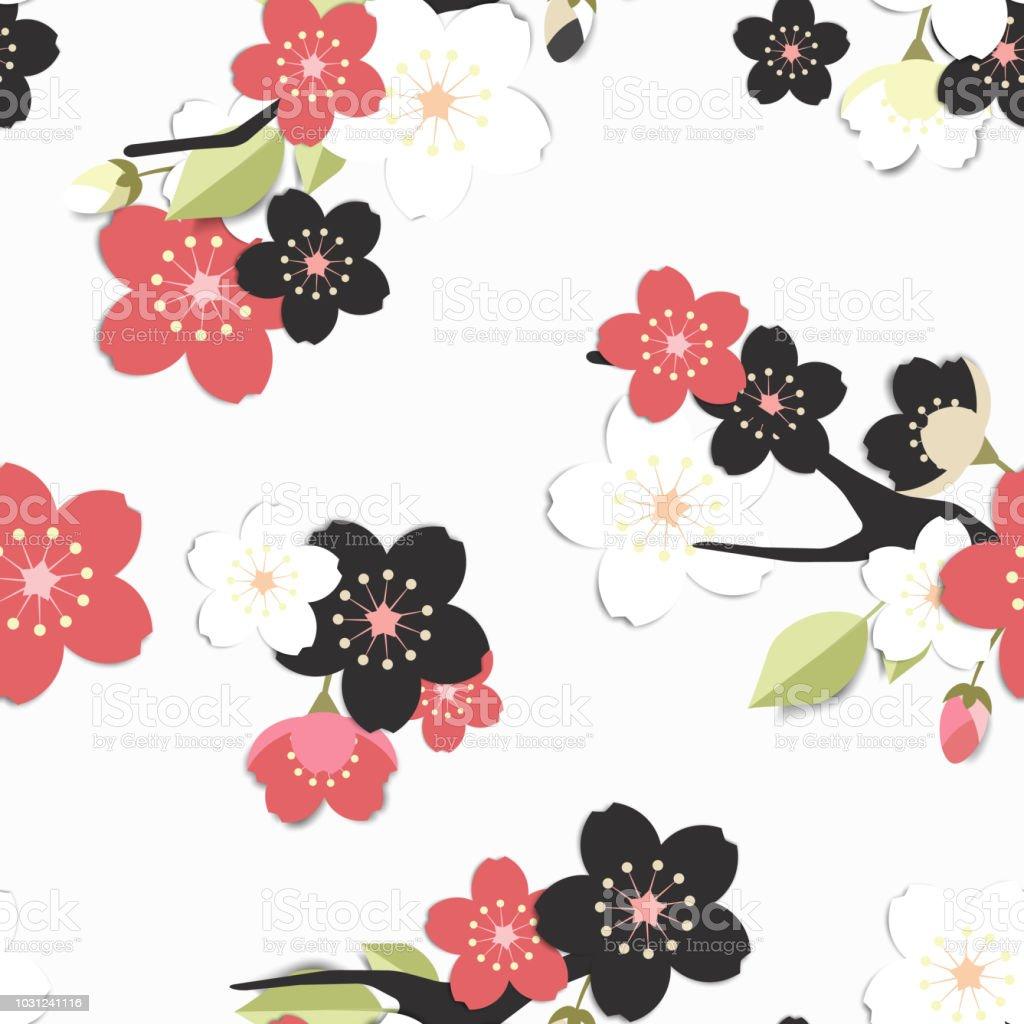Seamless Pattern Black Pink And White Sakura Flowers On Grey