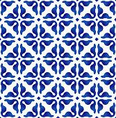 blue and white pattern, porcelain indigo seamless background, ceramic modern backdrop design, pottery decor vector illustration