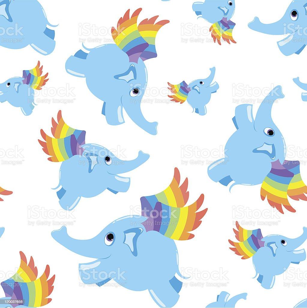 Seamless pattern blue flying elephant. royalty-free stock vector art