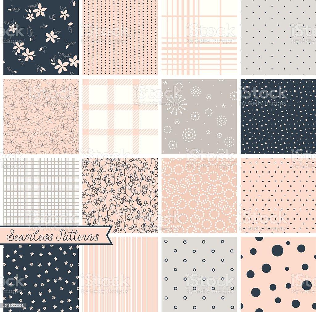 Seamless Pattern Blush Set vector art illustration