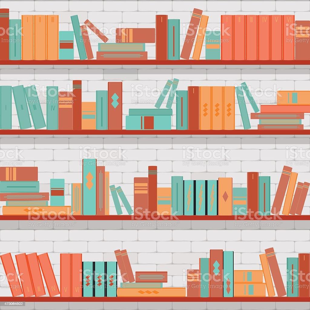 seamless pattern bookshelves, books on the brick wall background vector art illustration