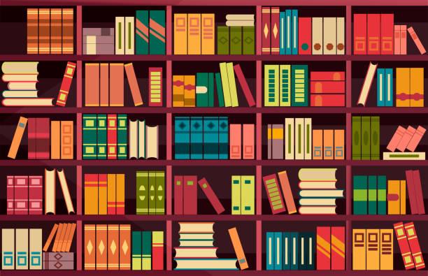 seamless pattern bookshelves vector illustration seamless pattern background retro bookshelf in flat style book backgrounds stock illustrations