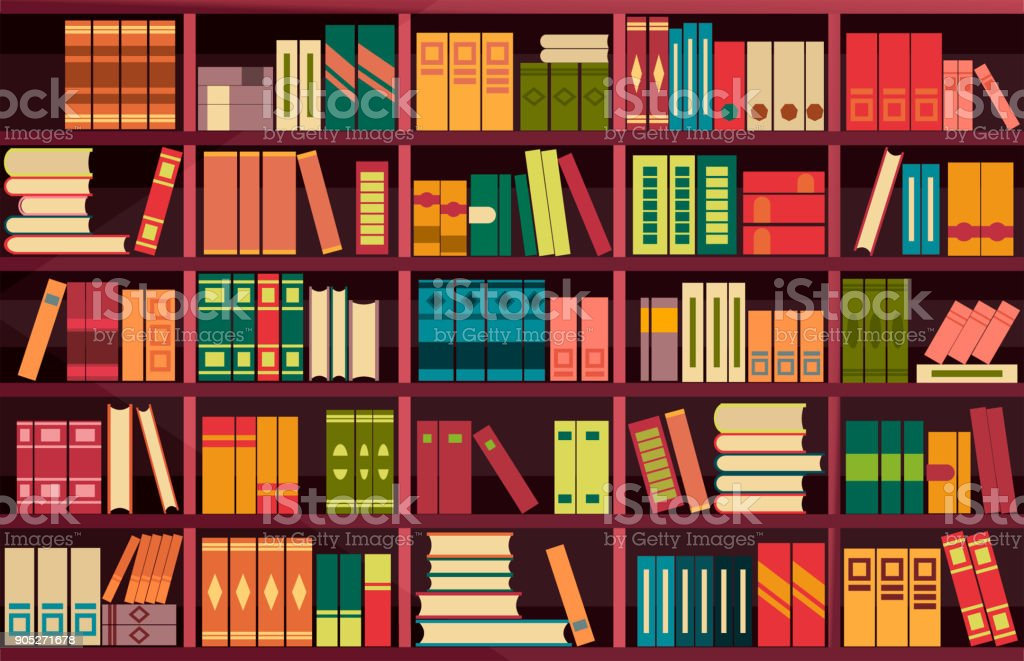 seamless pattern bookshelves vector art illustration