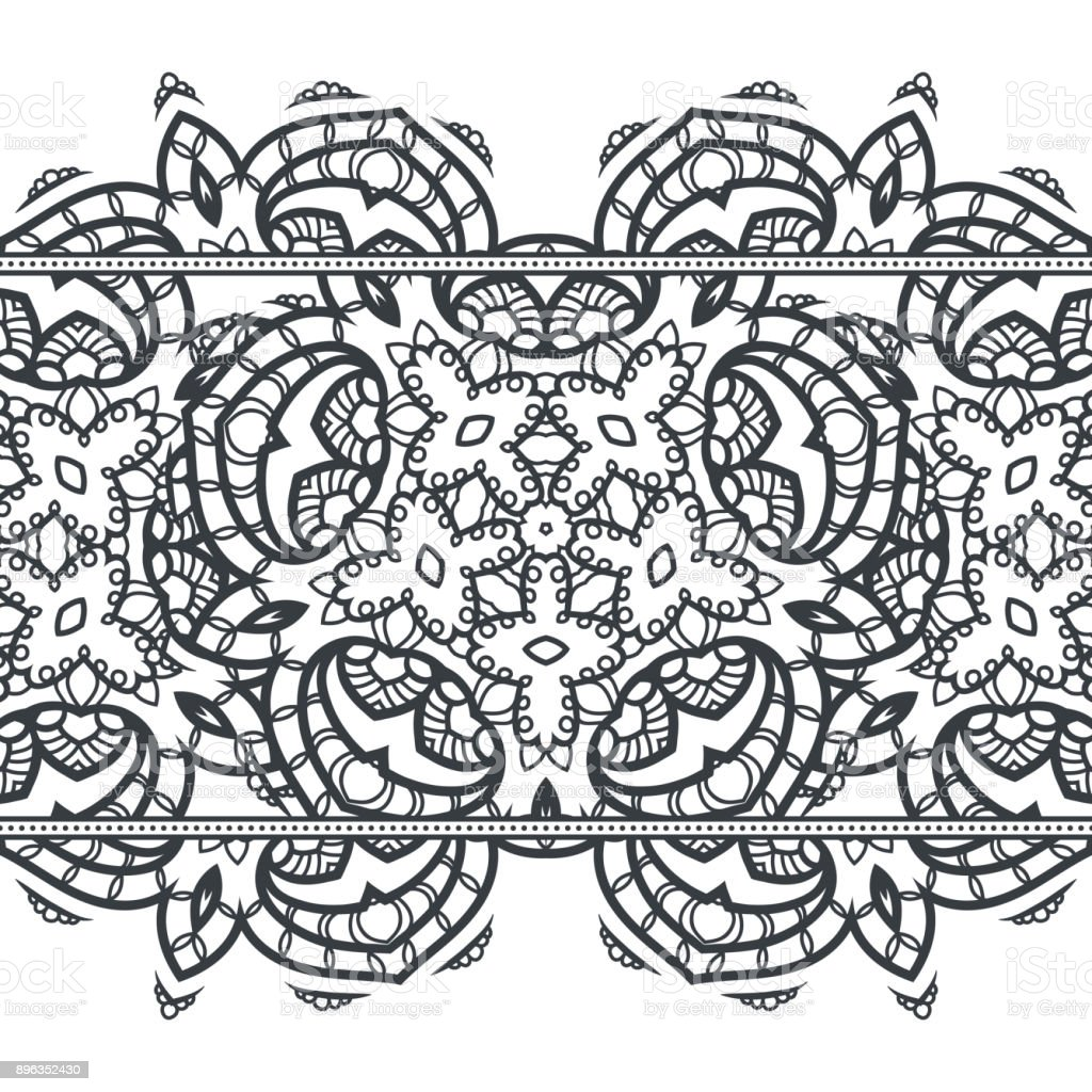 Frontera De Patrones Sin Fisuras Con Elementos Del Mandala Ornamento ...