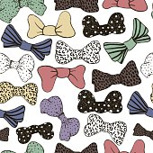 Seamless pattern bow tie retro colors. Vector texture, background.