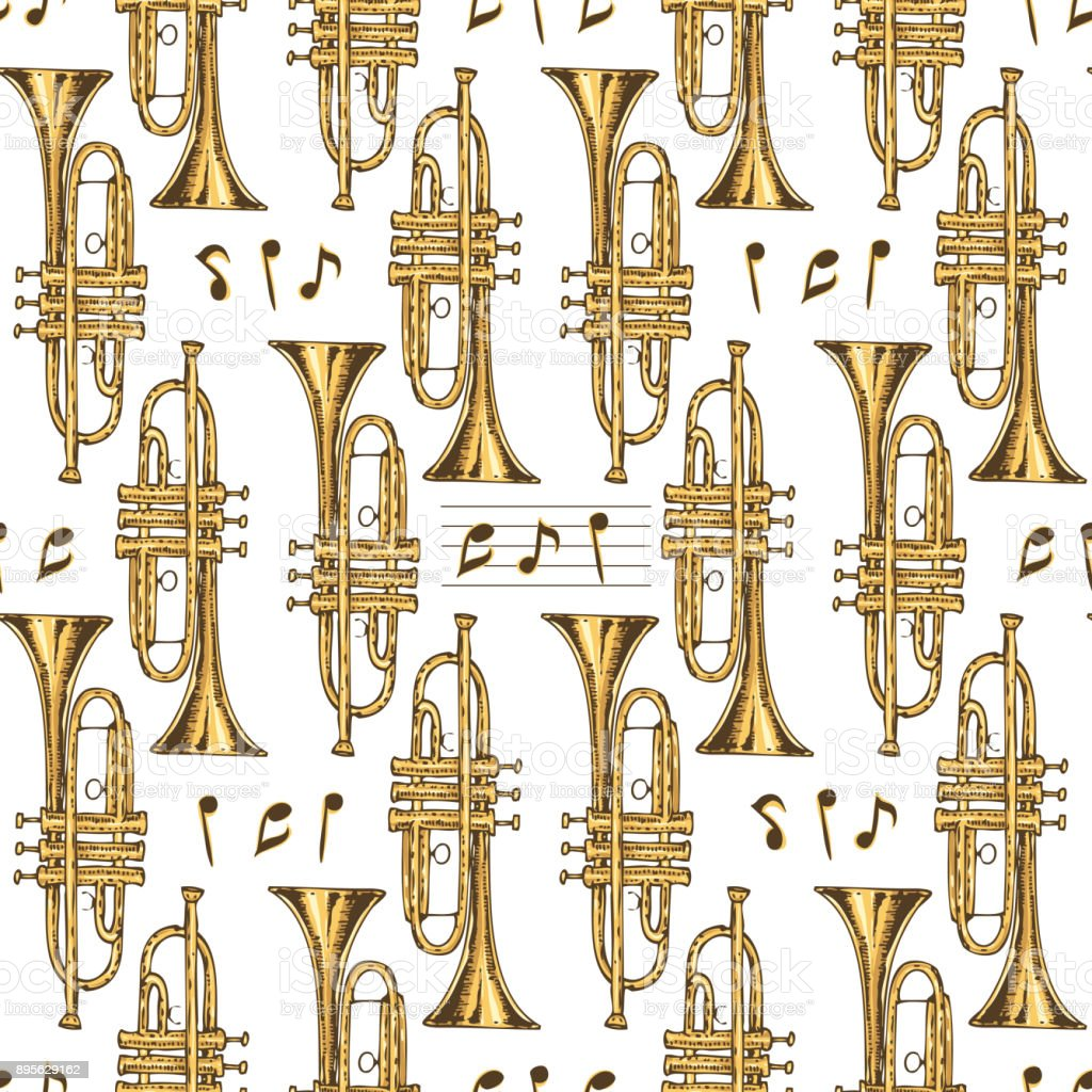 Seamless Pattern. Brass Trumpets and Notes vector art illustration