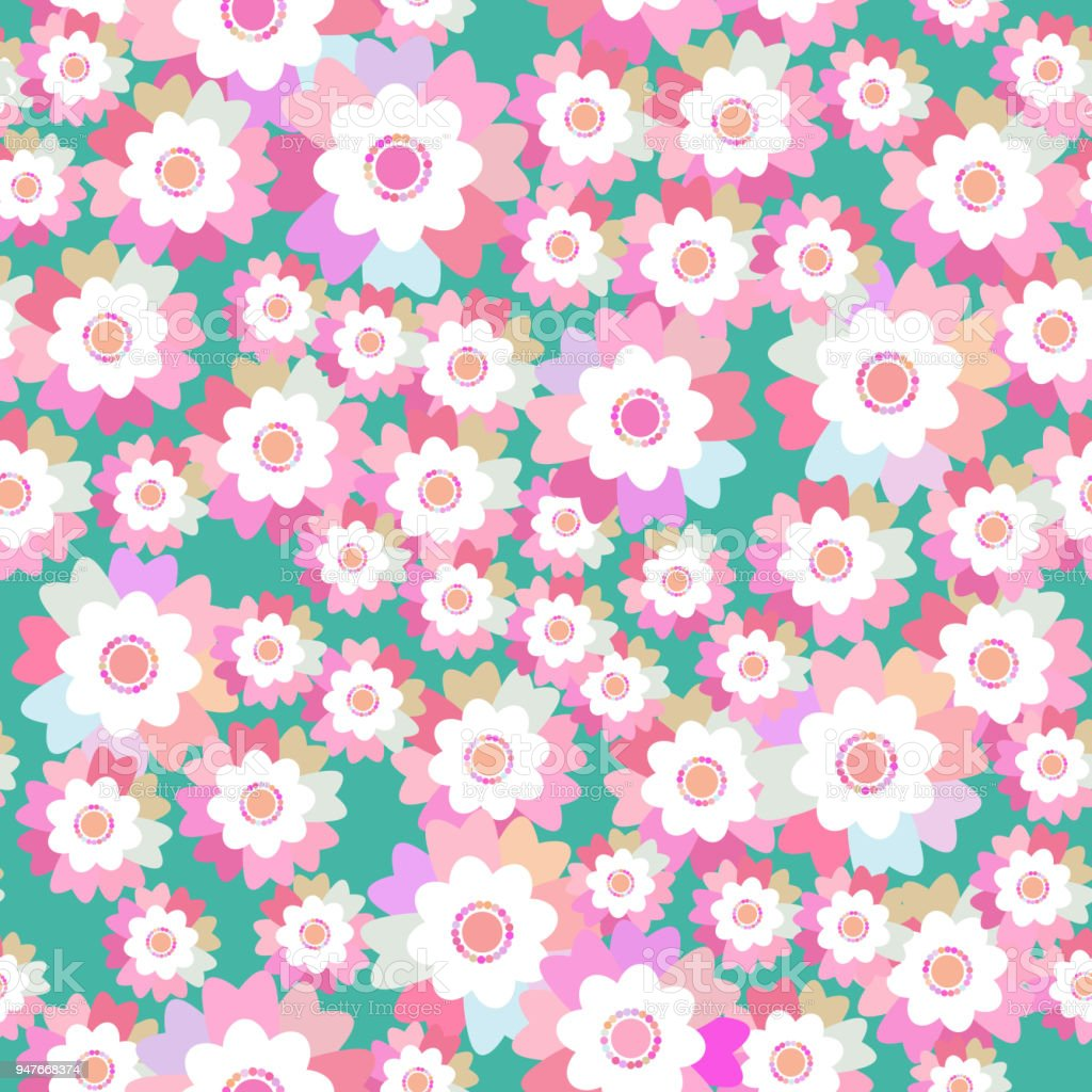 Seamless pattern bright summer spring pink purple flowers cornflower seamless pattern bright summer spring pink purple flowers cornflower violet pansy on blue background mightylinksfo