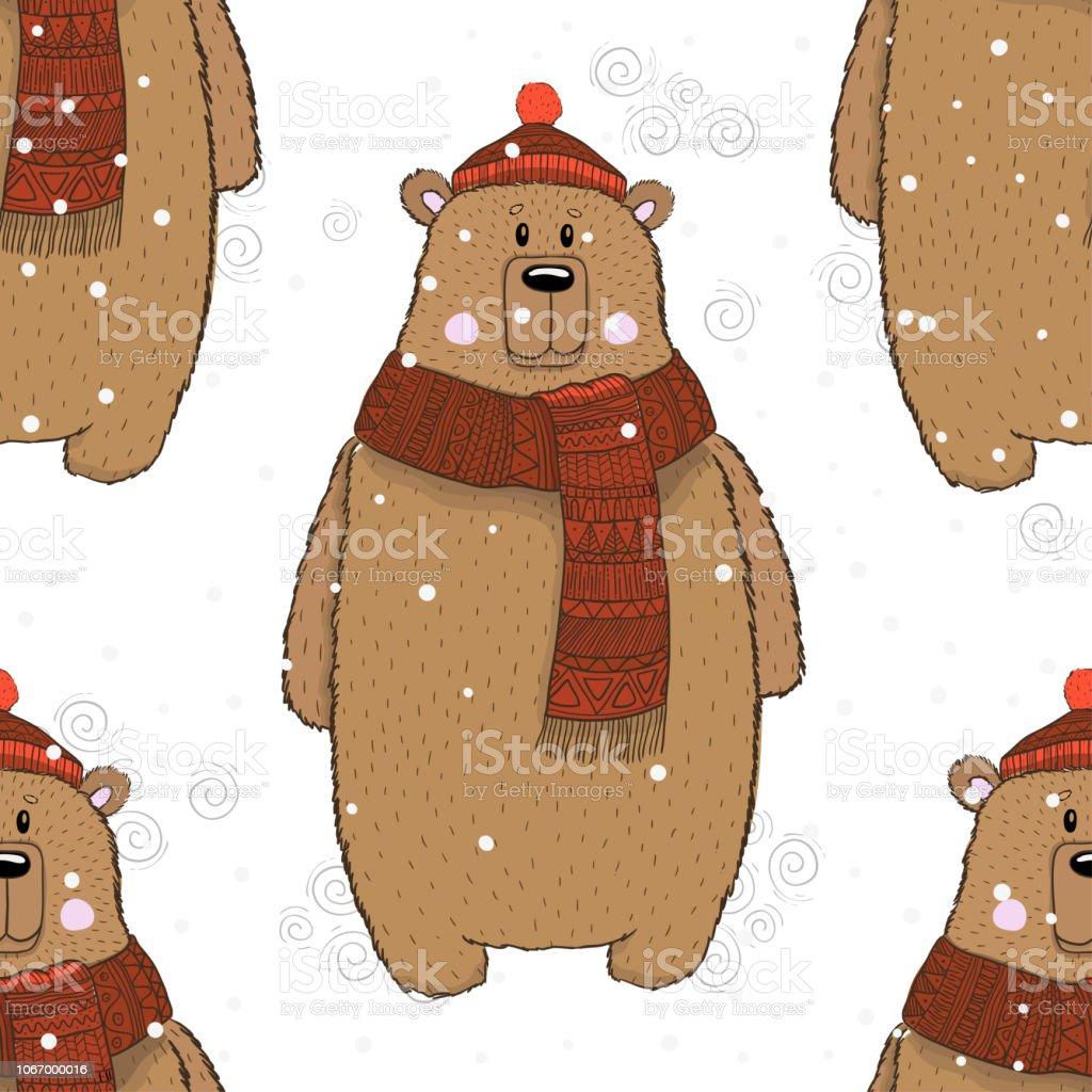 Seamless Pattern Brown Bear Winter Season Drawing Vector