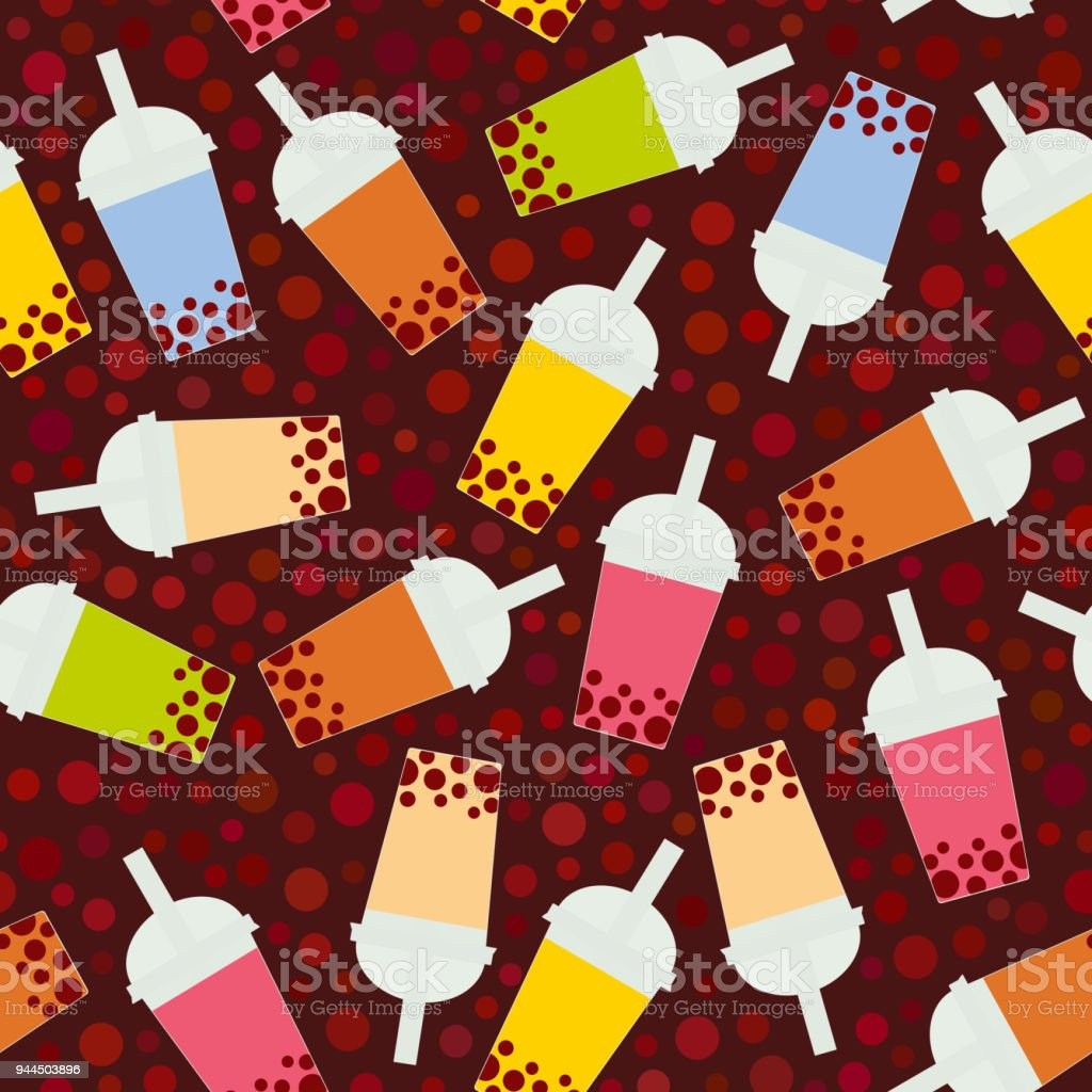 Seamless pattern Bubble Tea with different fruits and berries. Milk Cocktails in plastic cup, tubule. Different sorts of Bubble Tea Cocktails. pastel colors on brown background. Vector vector art illustration