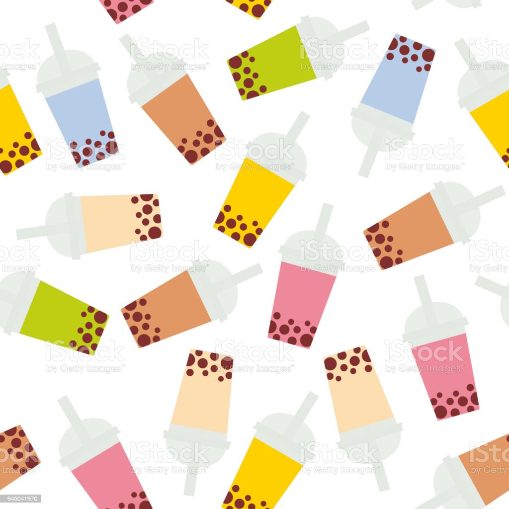 Seamless pattern Bubble Tea with different fruits and berries. Milk Cocktails in plastic cup, tubule. Different sorts of Bubble Tea Cocktails. pastel colors isolated on white background. Vector vector art illustration