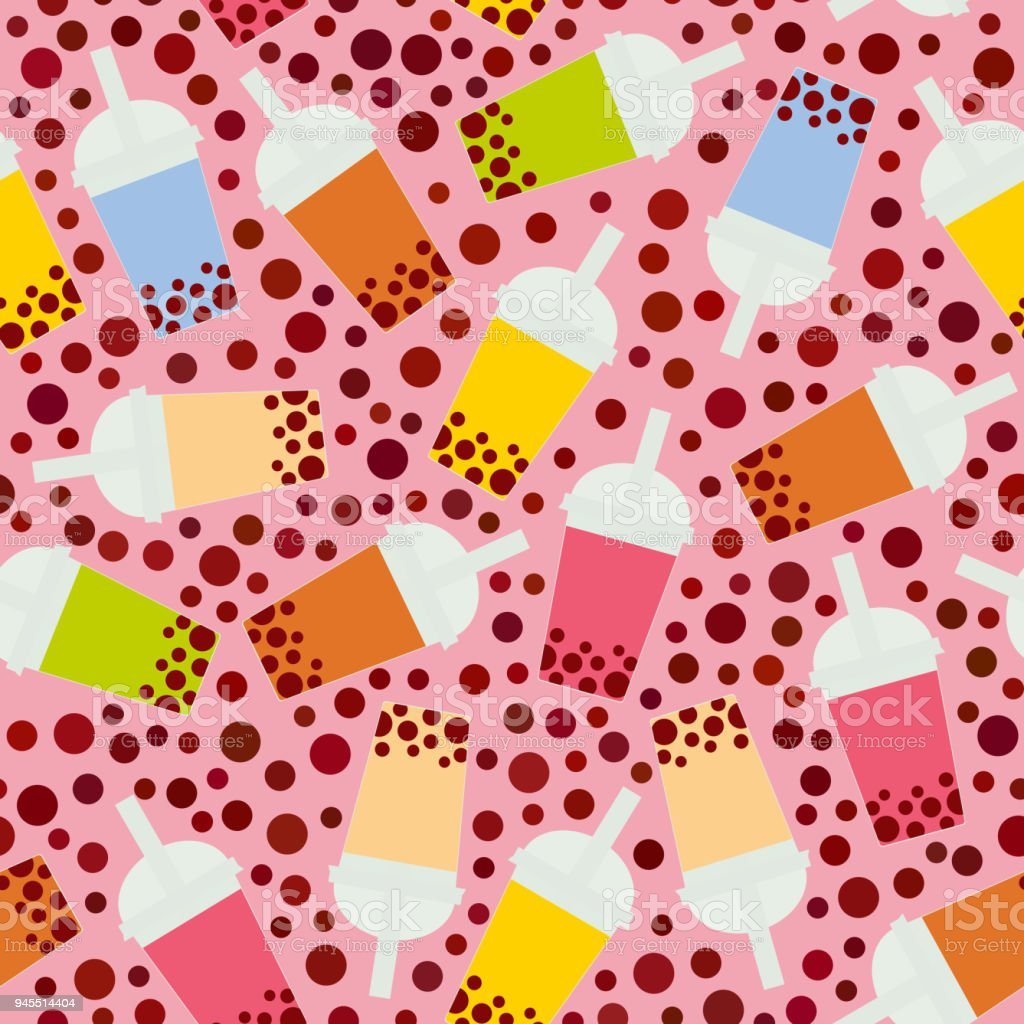 Seamless pattern Bubble Tea with different fruits and berries. Milk Cocktails in plastic cup, tubule. Different sorts of Bubble Tea Cocktails. pastel colors on pink background. Vector vector art illustration