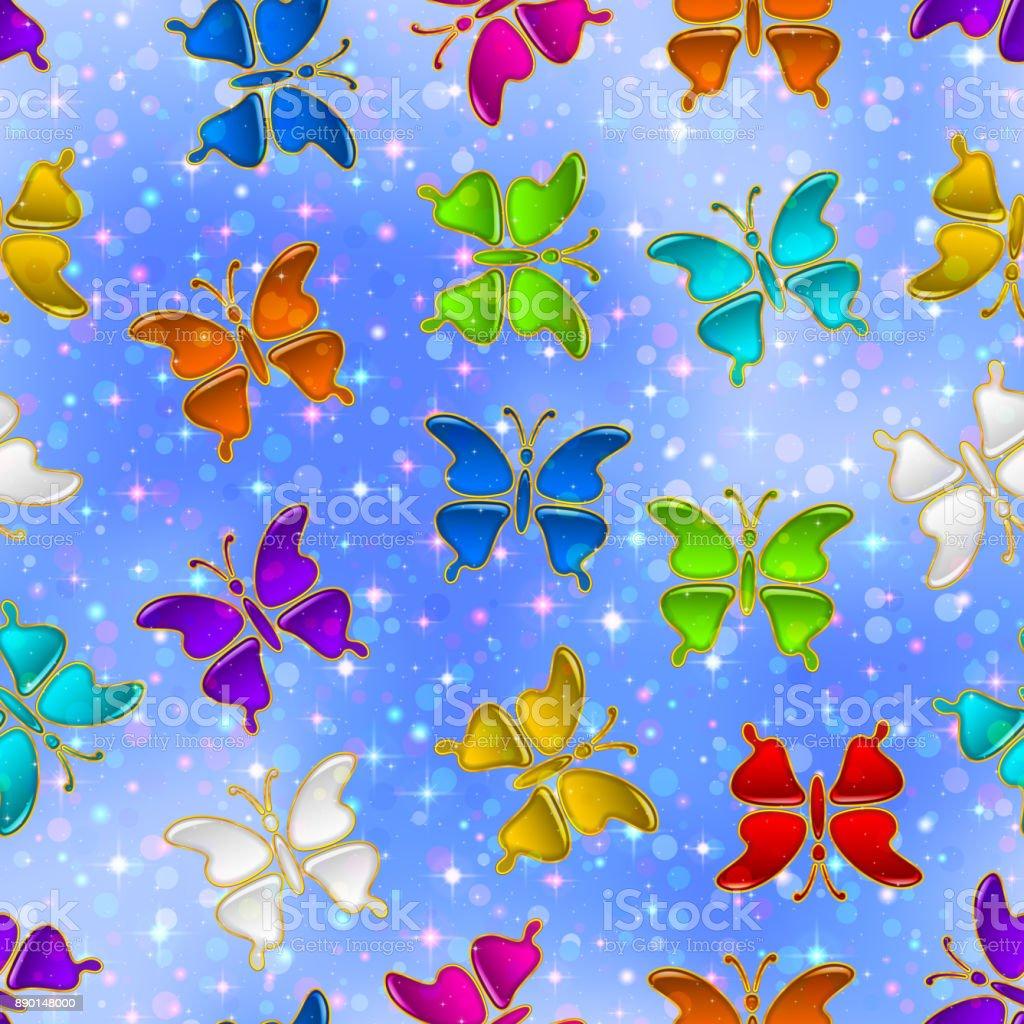 Seamless Pattern, Butterflies vector art illustration