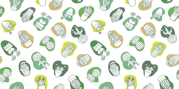 Seamless pattern cactus and succulents hand drawn on white background. Vector illustration in Perfect for fabric, textile, wrapping paper, backdrop , T-shirts, bedclothes,web banner
