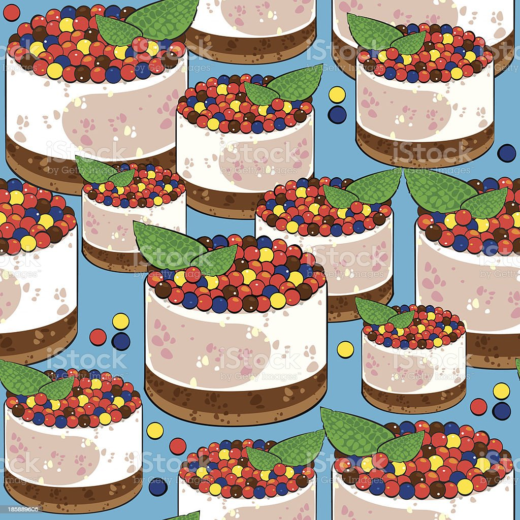 seamless pattern cake on blue background royalty-free stock vector art