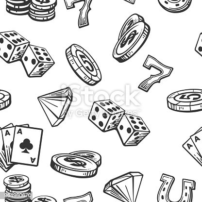 Seamless Pattern Casino set symbols. Black and white vintage vector illustration on white background for label, poster, web,  icon, banner