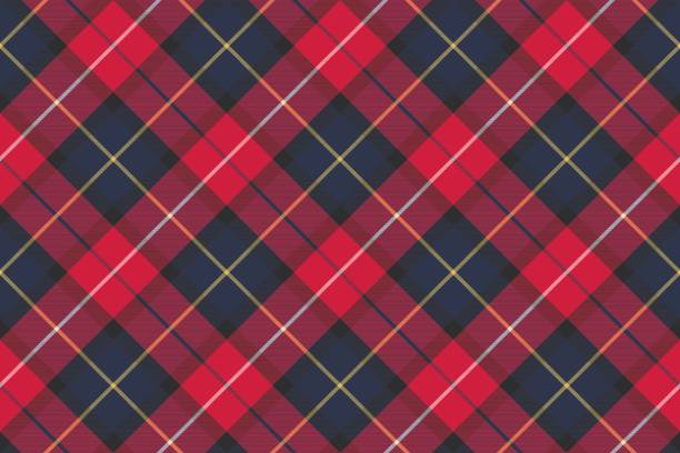 seamless pattern check plaid fabric texture - flannel backgrounds stock illustrations, clip art, cartoons, & icons
