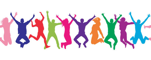 seamless pattern. cheerful crowd jumping people. colorful. - backgrounds silhouettes stock illustrations
