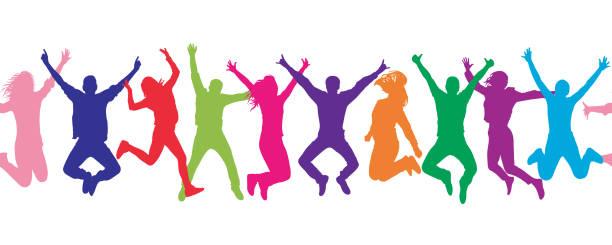 illustrazioni stock, clip art, cartoni animati e icone di tendenza di seamless pattern. cheerful crowd jumping people. colorful. - ragazze adolescenti