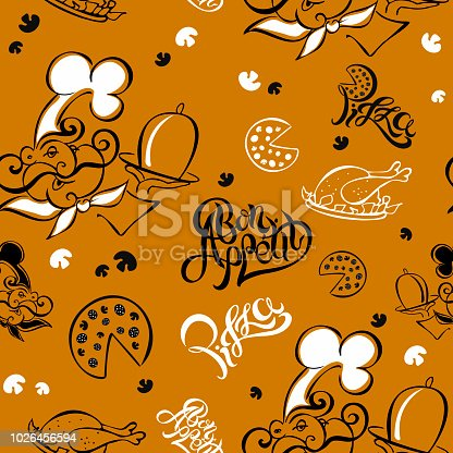 istock Seamless pattern. Chef. Kitchen theme. Logotype. Cook. Bon appetit. Pizza. Stylish lettering. vector illustration. 1026456594