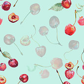 Seamless pattern - cherry on a green-blue background.
