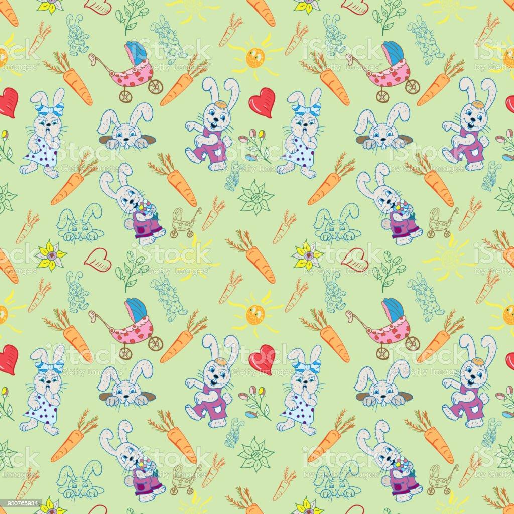 ウサギの花心太陽緑背景デザインの要素のセットのシームレス パターン