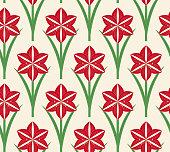 Seamless pattern Christmas amaryllis,vector