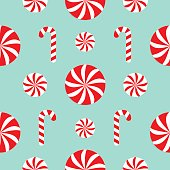 Seamless Pattern Christmas Candy Cane Round white and red sweet