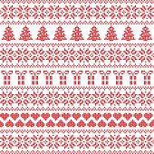 Scandinavian style, Nordic winter sweater stitch, knit pattern including star, Xmas tree, Xmas gift, heart element in red on white background in seamless style in red and white