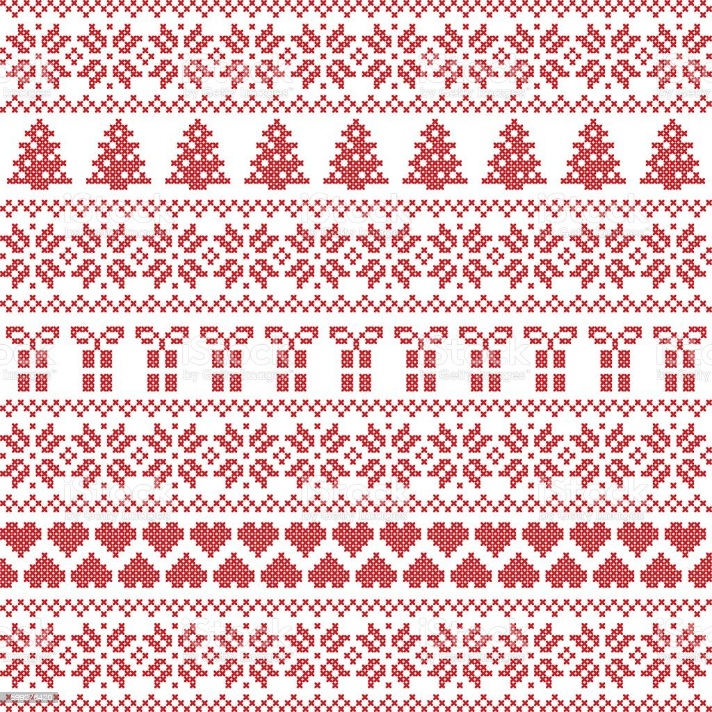 Seamless pattern Christmas including gifts, snowflakes, stars, gifts vector art illustration