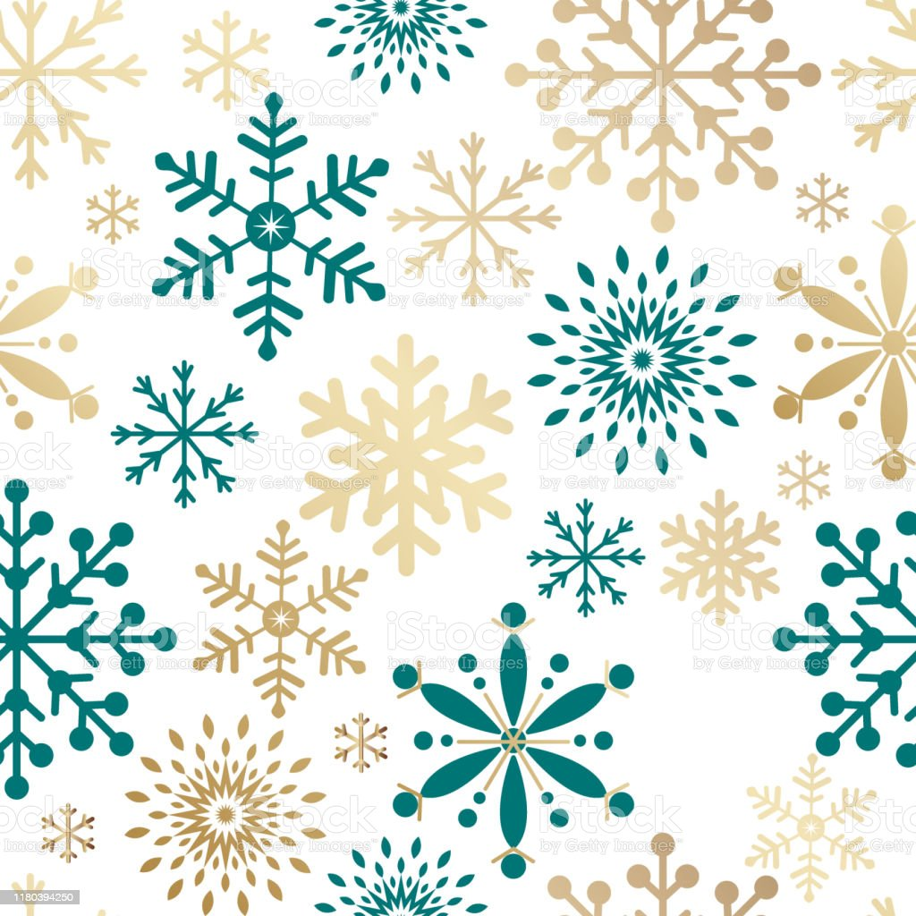 Seamless Pattern Christmas Tree With Gold And Turquoise Color Vector Illustration Stock Illustration Download Image Now Istock