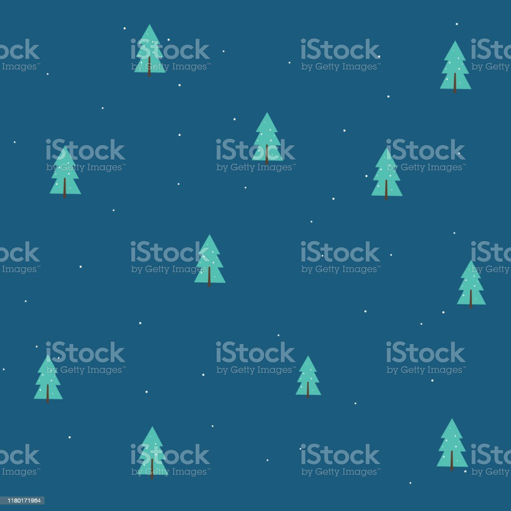 Seamless Pattern Christmas Wallpaper Minimal Christmas Tree On Dark Blue Background Stock Illustration Download Image Now Istock