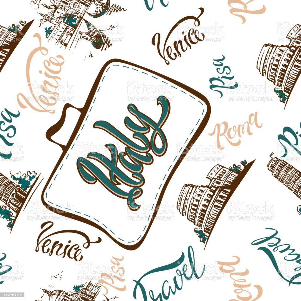seamless pattern city of italy rome venice pisa lettering sketches