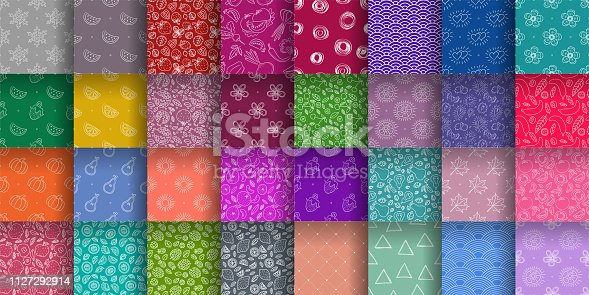 Seamless pattern collection. Colorful vector background set. Floral, fruit texture group. Hearts, sun, wave, lemon, strawberry, apple, leaf, snowflake, kiwi, triangle. Doodle sketch wallpaper