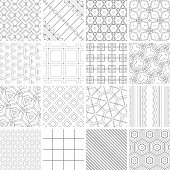 Vector illustration 16 line geometric seamless patterns