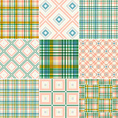 Vector illustration 9 colorful cotton seamless patterns.