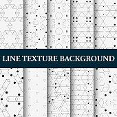 Vector illustration 10 line Geometric seamless patterns.