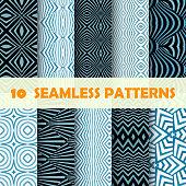 Vector illustration 10 blue Geometric seamless patterns.