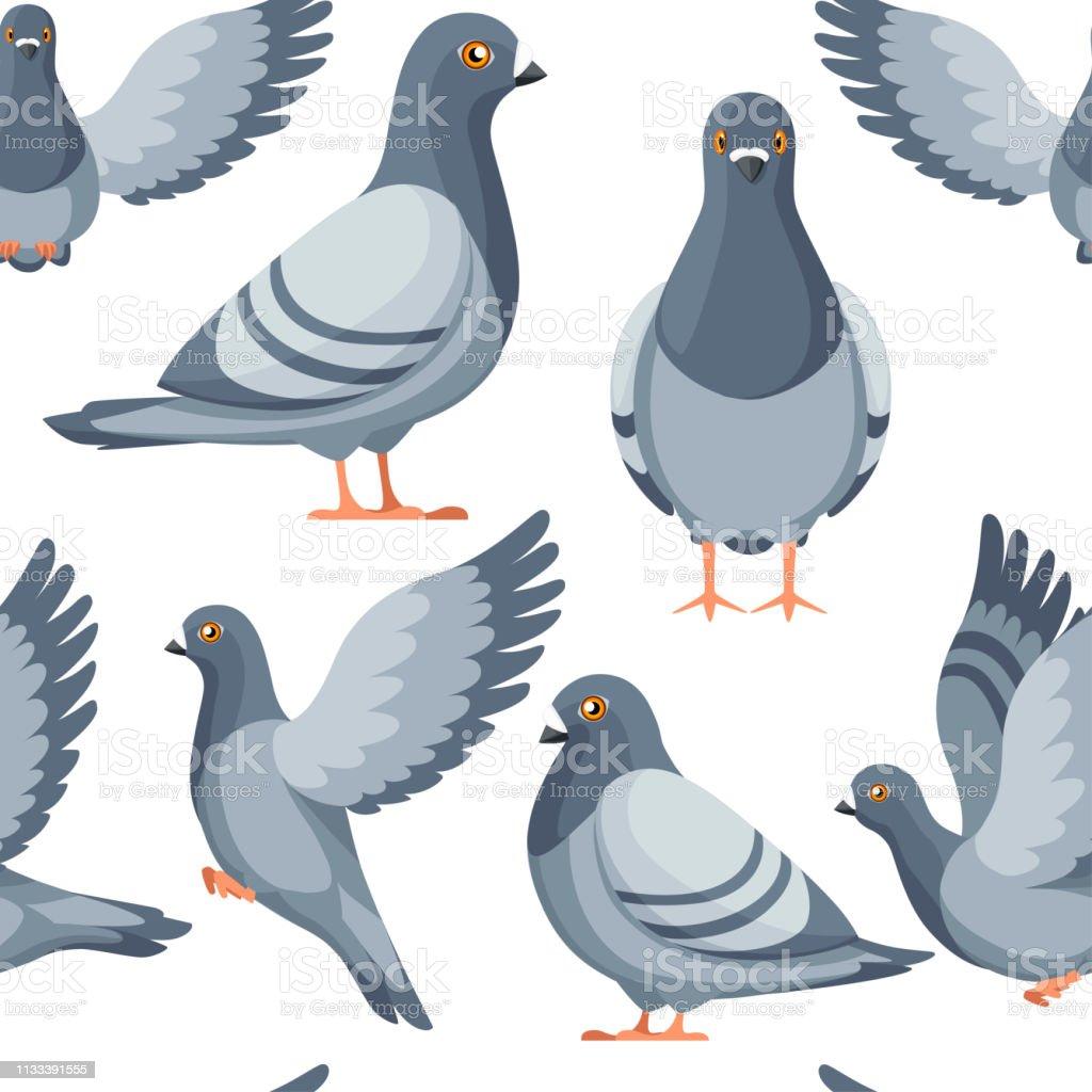 Nahtloses Muster. Bunte Icon-Set von Taubenvogel fliegen und sitzen. Flache Zeichentrickfigur Design. Bunte Vogel-Ikone. Niedliche Taubenvorlage. Vektordarstellung auf weißem Hintergrund - Lizenzfrei Ausmalen Vektorgrafik