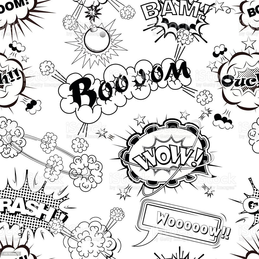 Seamless pattern comic speech bubbles sound effects vector illustration vector art illustration